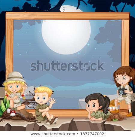 Groep verkenner houten frame illustratie hout natuur Stockfoto © bluering