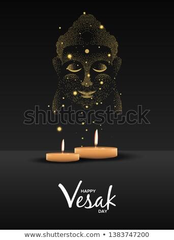 Dia cartão velas ouro buda cara Foto stock © cienpies