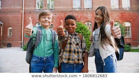 Gyerekek kívül elöl iskola illusztráció gyerekek Stock fotó © colematt
