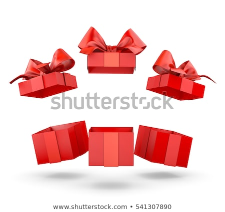 open white gift box with red bow on white background. Isolated 3 Stock photo © ISerg