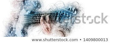 man holding playing a guitar blue brown color image with digita stock photo © amok