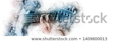 Mann halten spielen Gitarre blau braun Stock foto © amok