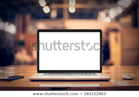 Home office workplace with blank screen laptop Stock photo © karandaev