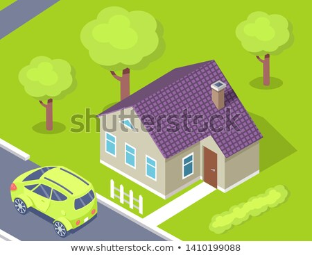 Parked Auto, House and Green Yard, Exterior Vector Stock photo © robuart