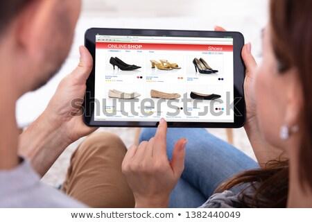 カップル · ショッピング · インターネット · 座って · デスク - ストックフォト © andreypopov