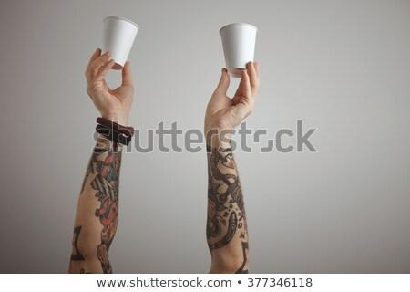 Kéz tart forró zöld tea csésze fa Stock fotó © Freedomz
