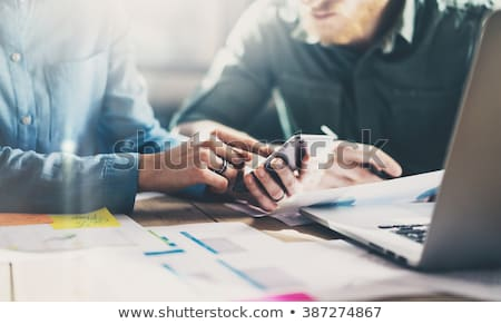 Marketing analysis team meeting concept. Young businessman crew  Stock photo © Freedomz