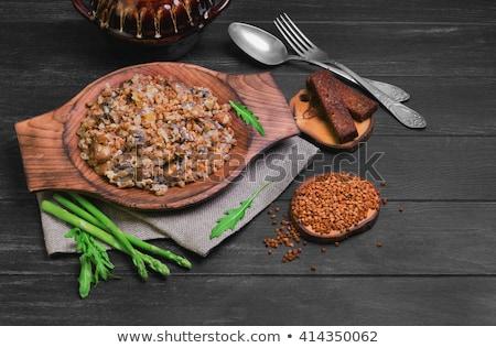 Buckwheat porridge in green pot Stock photo © furmanphoto
