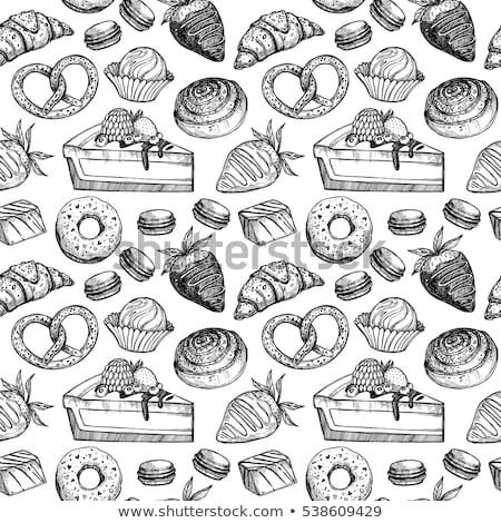 Donut Sweet Breakfast Dessert Hand Drawn Vector Stock photo © pikepicture