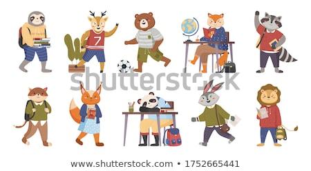 aap · cartoon · illustratie · cute · kleurboek · gelukkig - stockfoto © izakowski