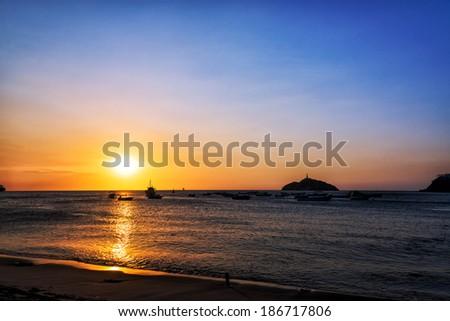 Sunset on the coast of Santa Marta, Colombia Stock photo © boggy