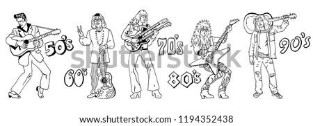 Kézzel rajzolt rajz hippi férfi napszemüveg kék Stock fotó © netkov1