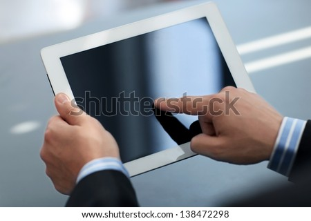 Person holding tablet, business concept Stock photo © ra2studio