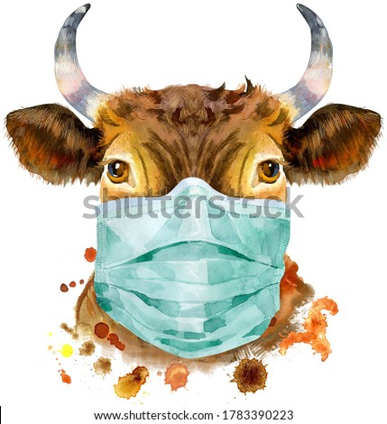 Watercolor illustration of a red bull in medical protective mask Stock photo © Natalia_1947