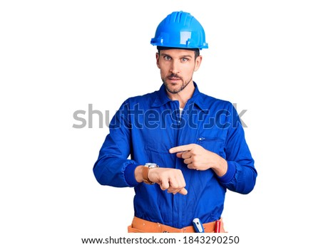 Worried engineer looking at the time Stock photo © photography33