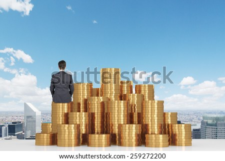 Businessman and a pile of money Stock photo © cherezoff