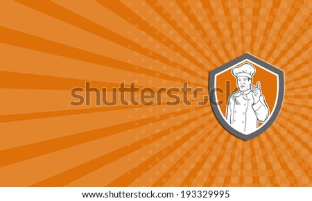 Business card Chef Cook Baker Pointing Up Shield Stock photo © patrimonio