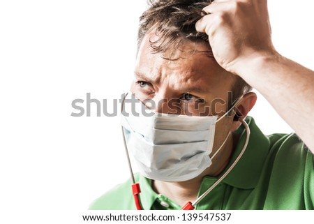 Hulpeloos angstig arts groene shirt Rood Stockfoto © w20er