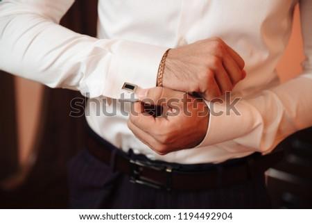 Biznesmen mankiet przyciski działalności pracy tie Zdjęcia stock © wavebreak_media