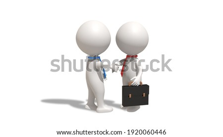 cyborg and man handshake robot and businessman contract artifi stock photo © maryvalery