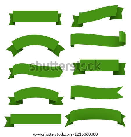 Big Green Ribbons Set White Background Stock photo © barbaliss