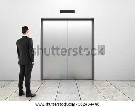 男 待って エレベーター ドア 実例 芸術 ストックフォト © colematt