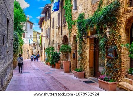 Straat Italië historisch centrum reizen Europa Stockfoto © borisb17