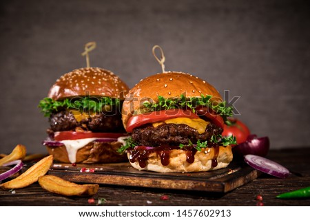 A BBQ with Hamburger meal Stock photo © Lopolo