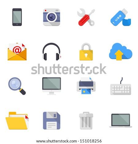 Dispositivos 16 ícones vetor teia usuário Foto stock © ayaxmr