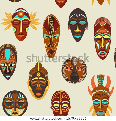 Collection of different wooden voodoo masks Stock photo © evgeny89
