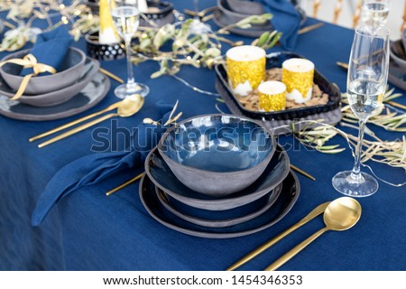 Table setting in blue Stock photo © Hofmeester