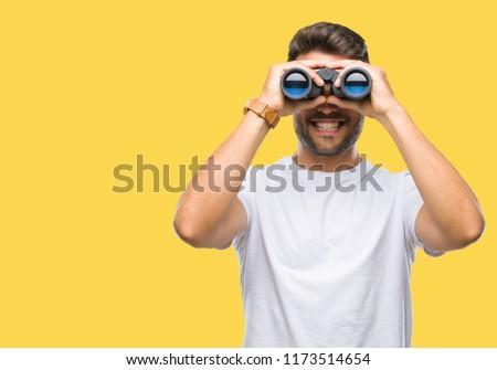 笑みを浮かべて · ビジネスマン · 双眼鏡 · 白 · 男 · スーツ - ストックフォト © tiero