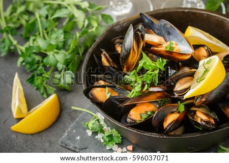 mussels with wine and parsley Stock photo © M-studio