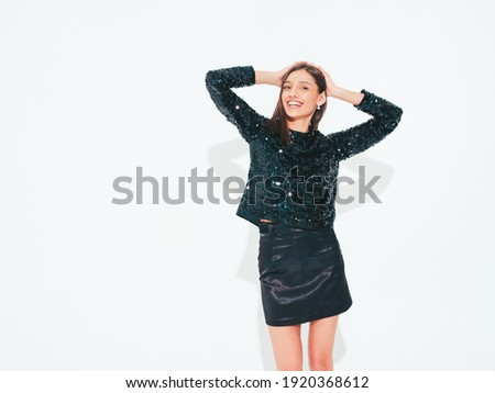 black and white portrait of beautiful brunette lady in sexy ling stock photo © pawelsierakowski