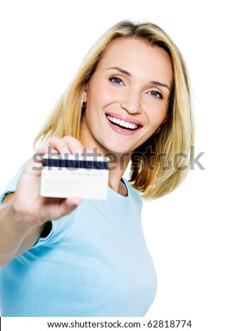 Stock photo: Happy woman with credit card on white bacground