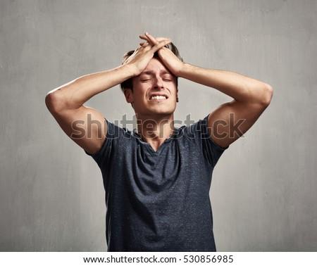 Portre adam üzüntü düşünme eller yüz Stok fotoğraf © meinzahn