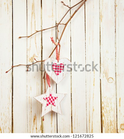 red and white hearts on old wooden background stock photo © vlad_star