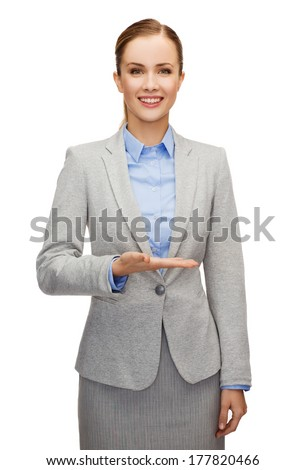 üzletasszony dolgozik valami képzeletbeli kép nő Stock fotó © dolgachov