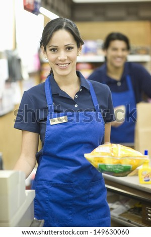 магазине сотрудников синий равномерный лице женщины Сток-фото © toyotoyo