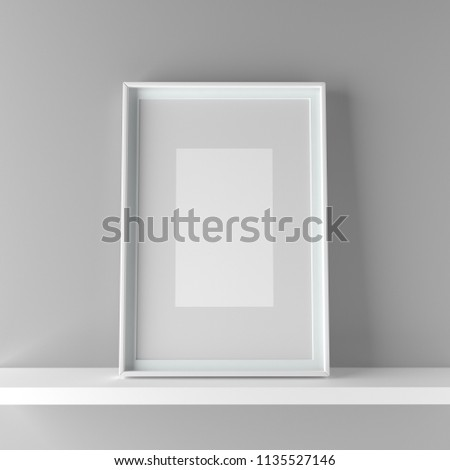 elegant frame stand on the shelf 3d graphic illustration stock photo © adamr