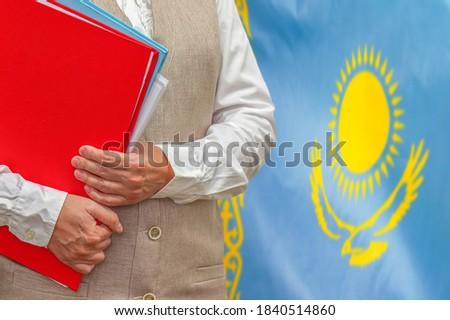 Dobrador bandeira Cazaquistão arquivos isolado branco Foto stock © MikhailMishchenko