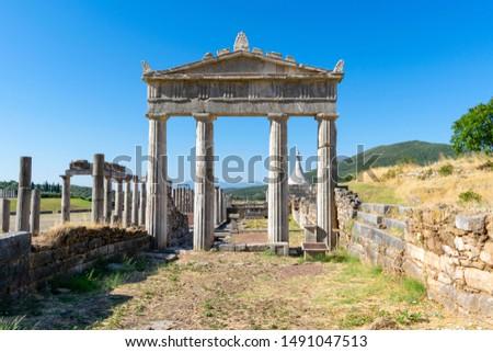 Oude Griekenland stadion hemel zomer Blauw Stockfoto © borisb17