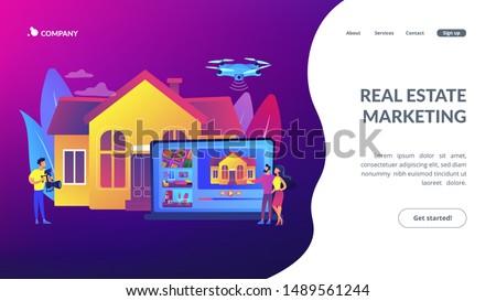 Inmobiliario vídeo gira aterrizaje página Pareja Foto stock © RAStudio