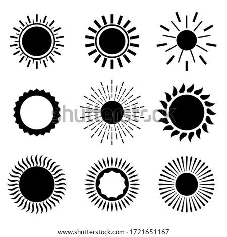 солнце иконки черный цвета набор девять Сток-фото © SArts
