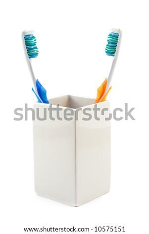 歯ブラシ マグ 孤立した セラミックス 白 薬 ストックフォト © vtls