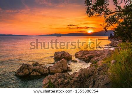 prachtig · zonsondergang · kust · hemel · natuur · zee - stockfoto © vlaru