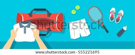 Man puts fitness stuff into sport bag vector banner Stock photo © vectorikart