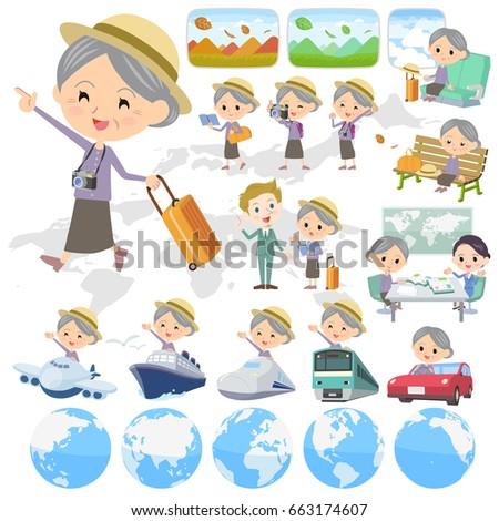 Purple clothes grandmother travel Stock photo © toyotoyo