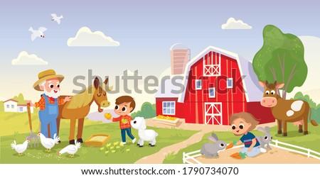 ahır · çocuklar · örnek · hayvanlar · çiftlik - stok fotoğraf © bluering
