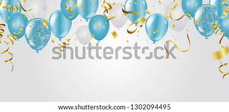 The concept of festive decorations in blue with balloons Stock photo © ElenaBatkova